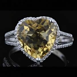 14k White Gold 4.91CT Citrine & 0.23CT Diamond Ring