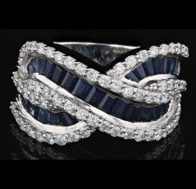 18k White Gold Diamond Ring, Saphire 3.12ct, 1.12ct