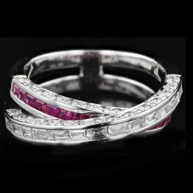 18k White Gold 2.02ct Diamond And 0.62ct Ruby Ring