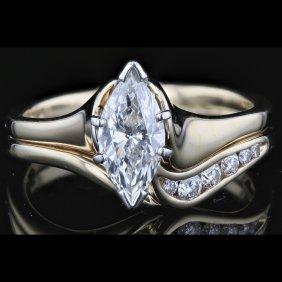 14k Two Tone White & Yellow Gold 0.79ct Diamond Ring.