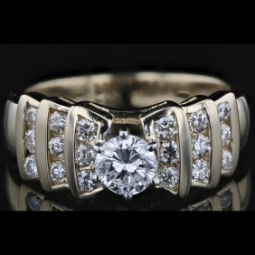 14k Two Tone White & Yellow Gold 1.03ct Diamond Ring