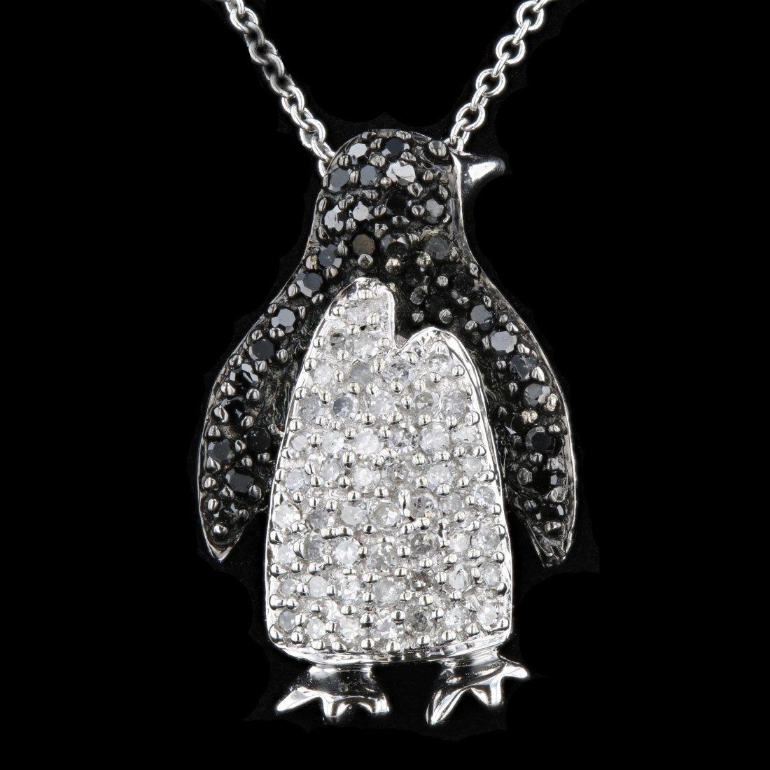 10k White Gold Black & White 0.74CT Diamond Pendant