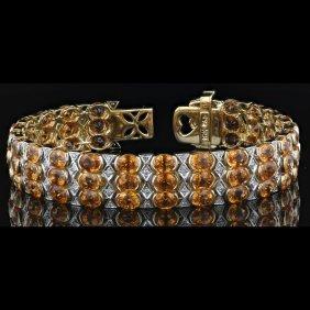 18k Yellow Gold 31.20ct Garnet & 1.26ct Diamond