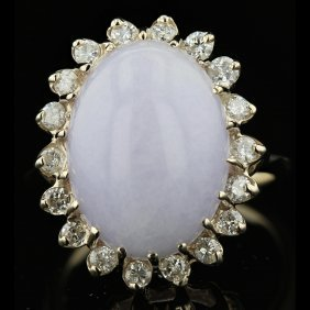 14k Yellow Gold 6.72ct Lavender Jade & 0.71ct Diamond
