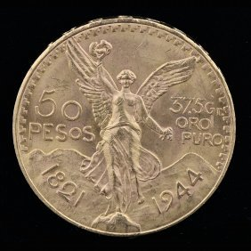 1821-1947, 21.60k Centenaro 50 Peso Yellow Gold Coin