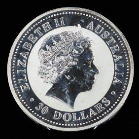 30 Dollars Elizabeth Australia 1 Kilo 999 Silver Coin