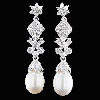 14K White Gold 0.28CT Diamond Earrings