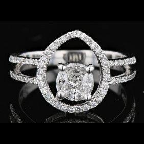 18k White Gold, 0.98ct Diamond Ring