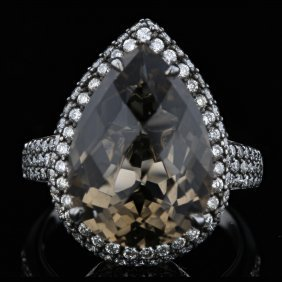 18k White Gold 10.87ct Quartz & 1.08ct Diamond Black