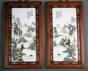 PAIR OF WANGYETING MARK PASTEL PORCELAIN PAINTINGS
