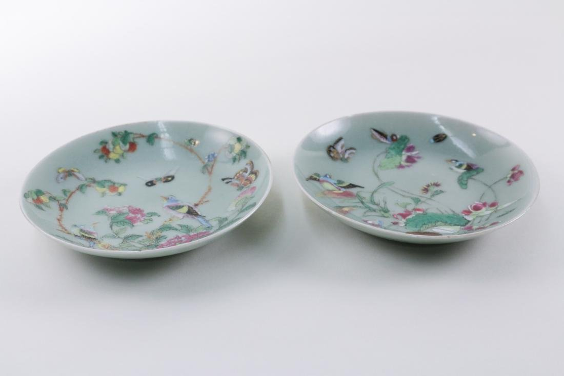 PAIR OF DOUQING CELADON DISHES