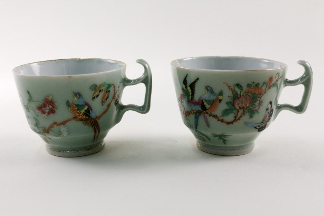 PAIR OF DOUQING CELADON GILT CUPS