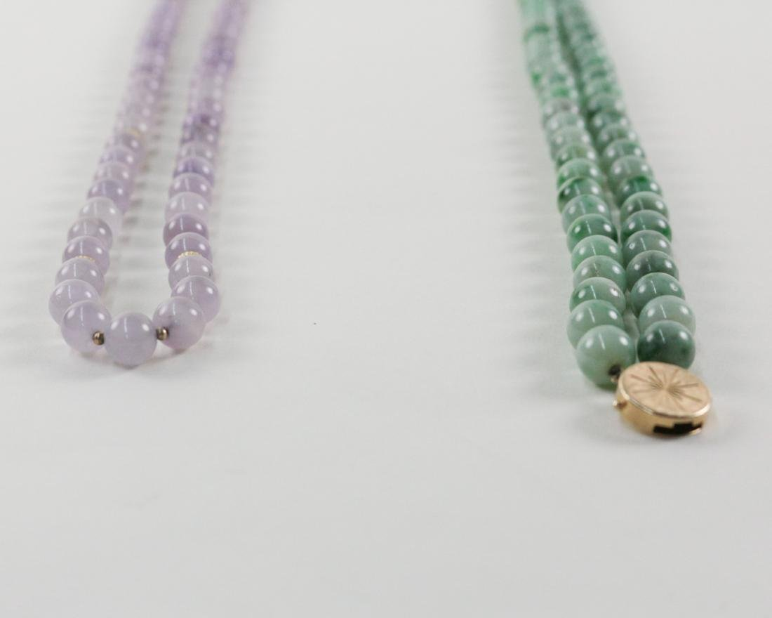TWO PIECES OF TOURMALINE/JADEITE BEADS NECKLACES - 10