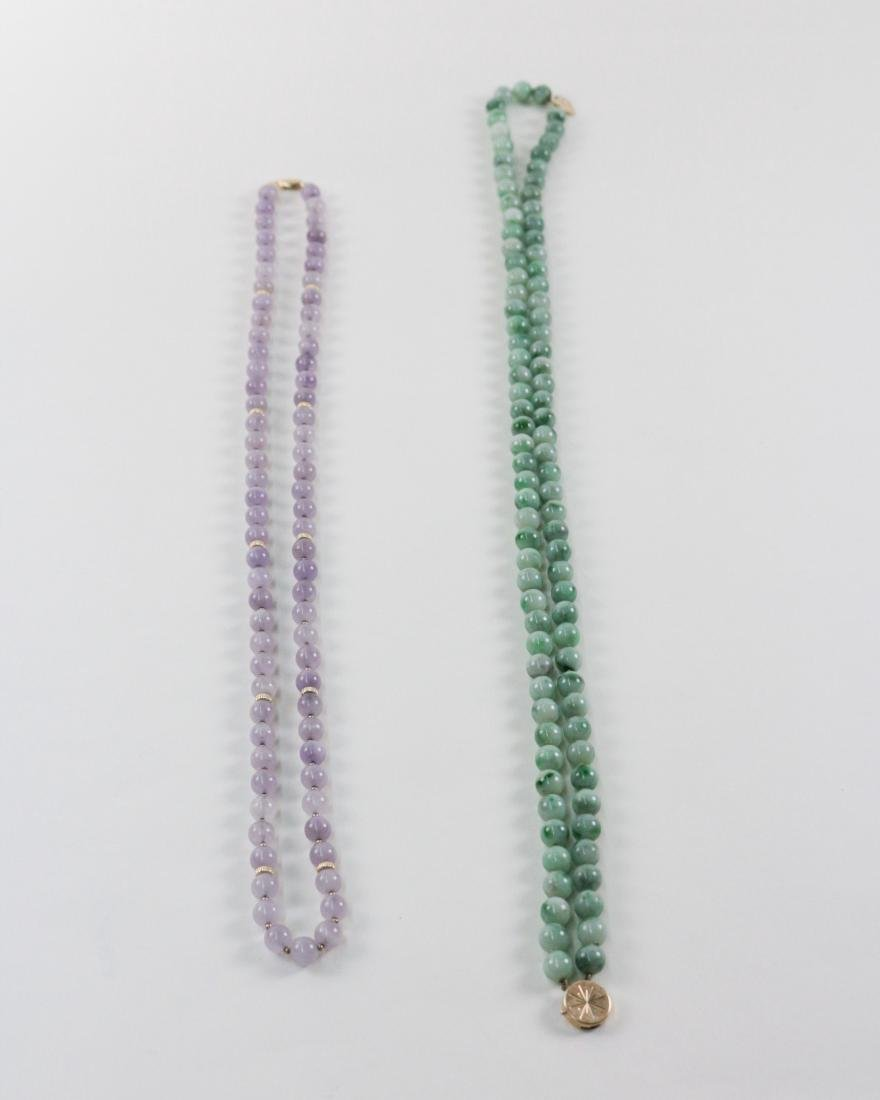 TWO PIECES OF TOURMALINE/JADEITE BEADS NECKLACES - 9