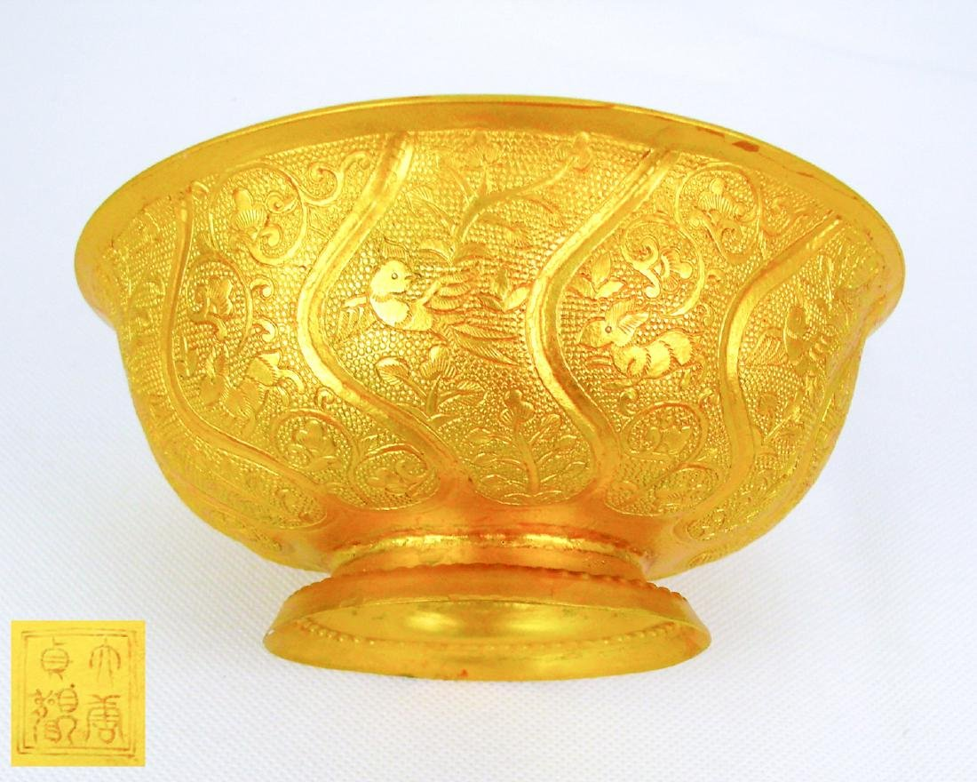 DATANG ZHENGUAN MARK BRONZE-GILT BOWL