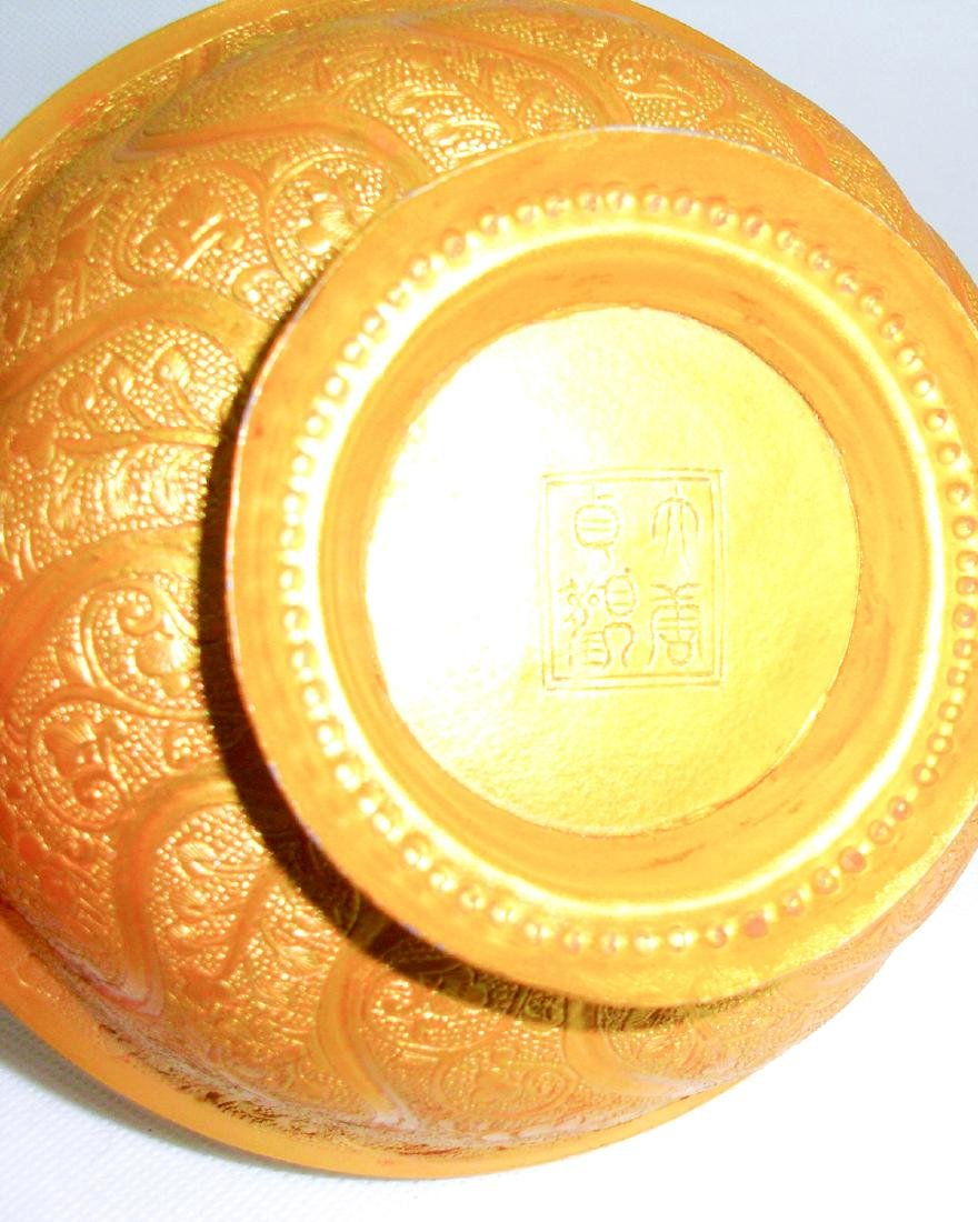 DATANG ZHENGUAN MARK BRONZE-GILT BOWL - 4