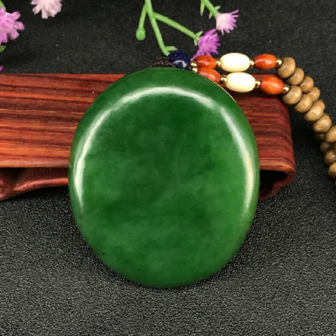 HETIAN GREEN JADE BUDDA SHAPED PENDANT - 2
