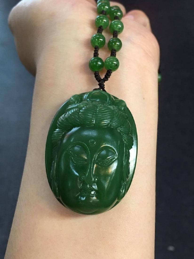 HETIAN GREEN JADE BUDDA SHAPED PENDANT - 4
