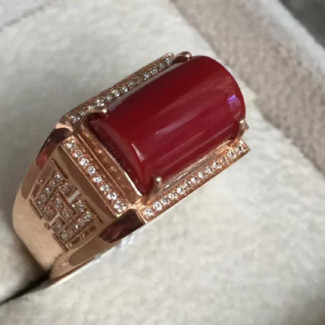 18K AKA MALE RING WITH DIAMOND - 4