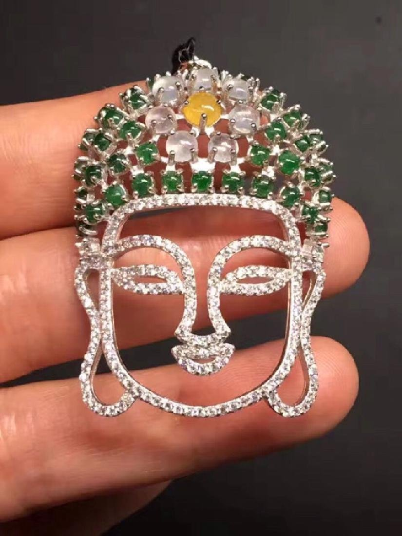 EGG-SHAPED NATURAL JADEITE BUDDHA DESIGN PENDANT