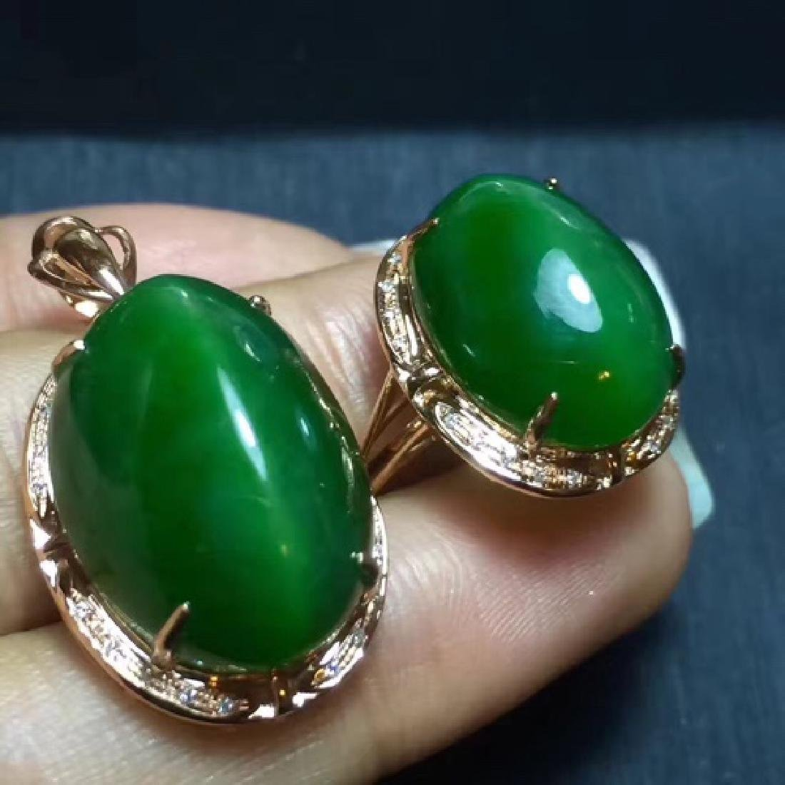 18K HETIAN GREEN JADE SET