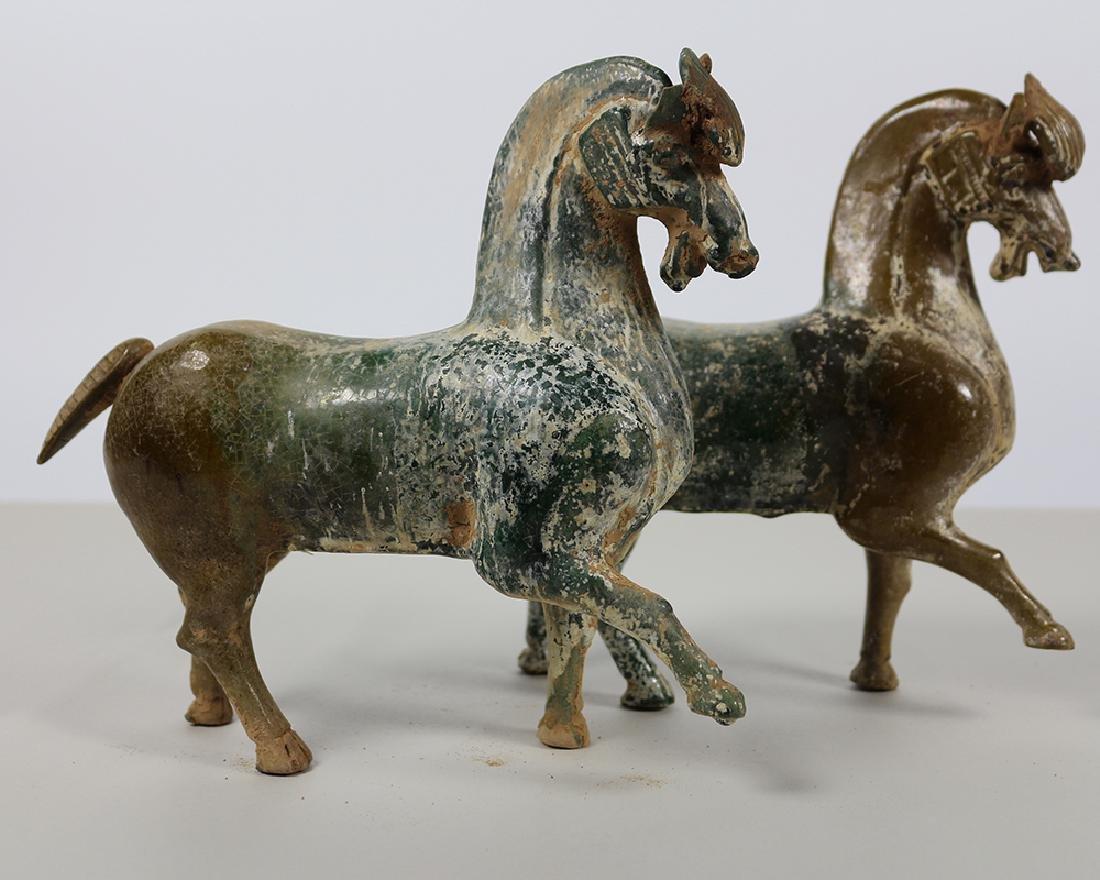 PAIR OF GREEN GLAZE HORSES