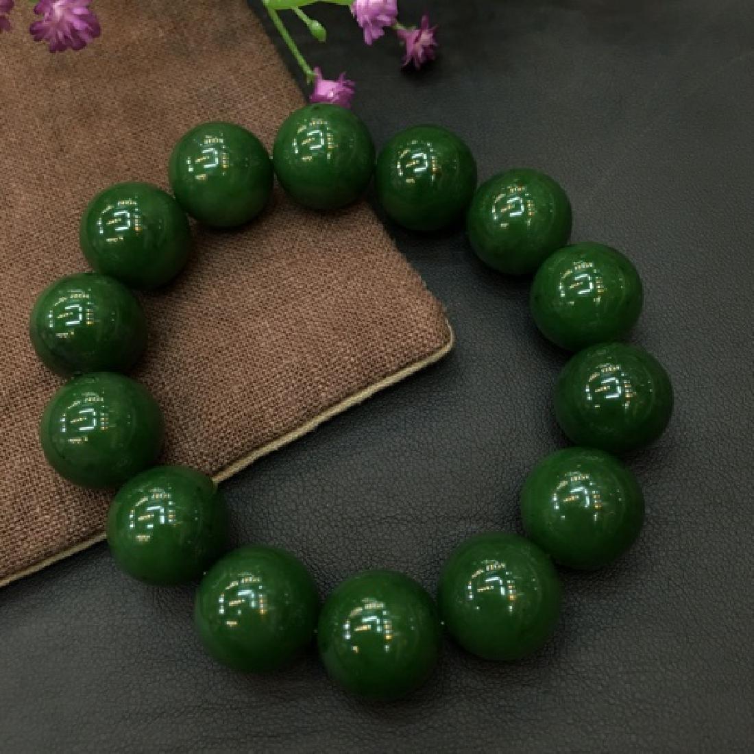 NATURAL HETIAN GREEN JADE BEADS BRACELET