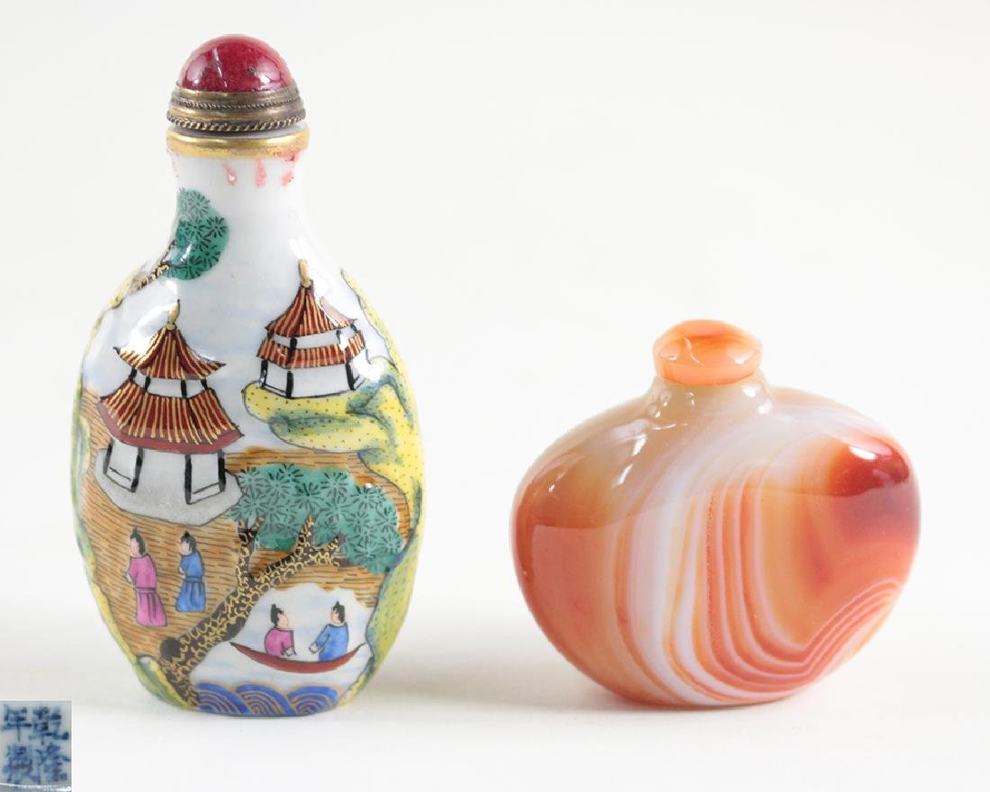 TWO PIECES OF GLASS AND AGATE SNUFF BOTTLES