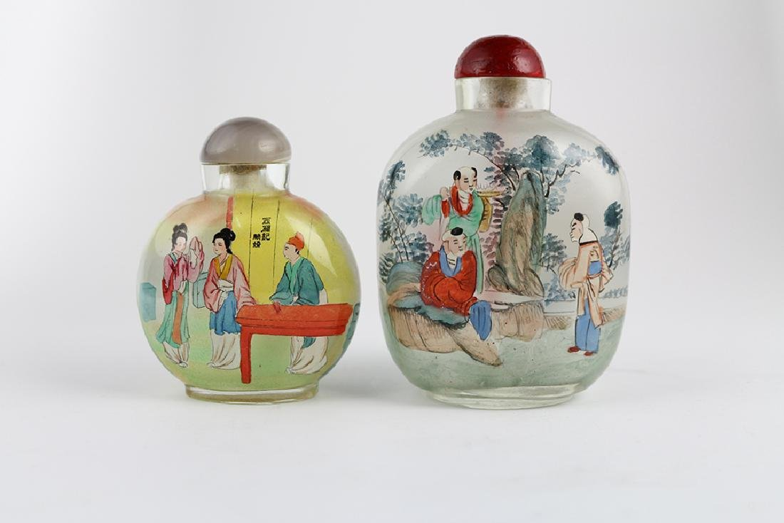 TWO PIECES GLASS SNUFF BOTTLES