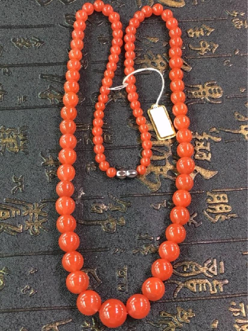 NATURAL SOUTHERN RED AGATE BEADS NECKLACE
