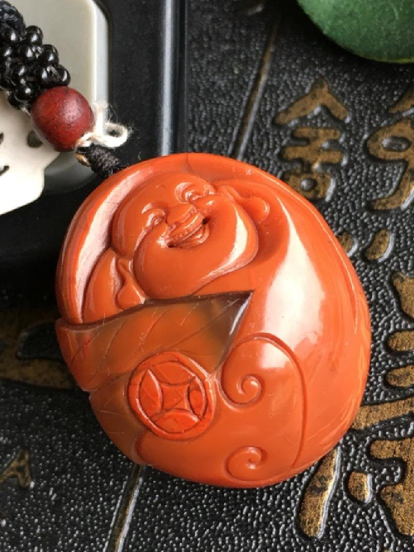 NATURAL BUDDHA SHAPED SOUTHERN RED AGATE PENDANT