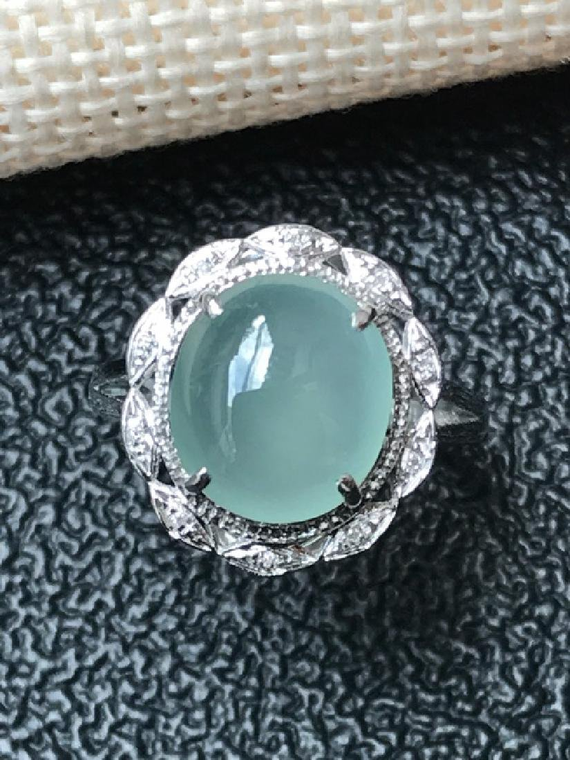 EGG-SHAPED Natural ICY JADEITE RING