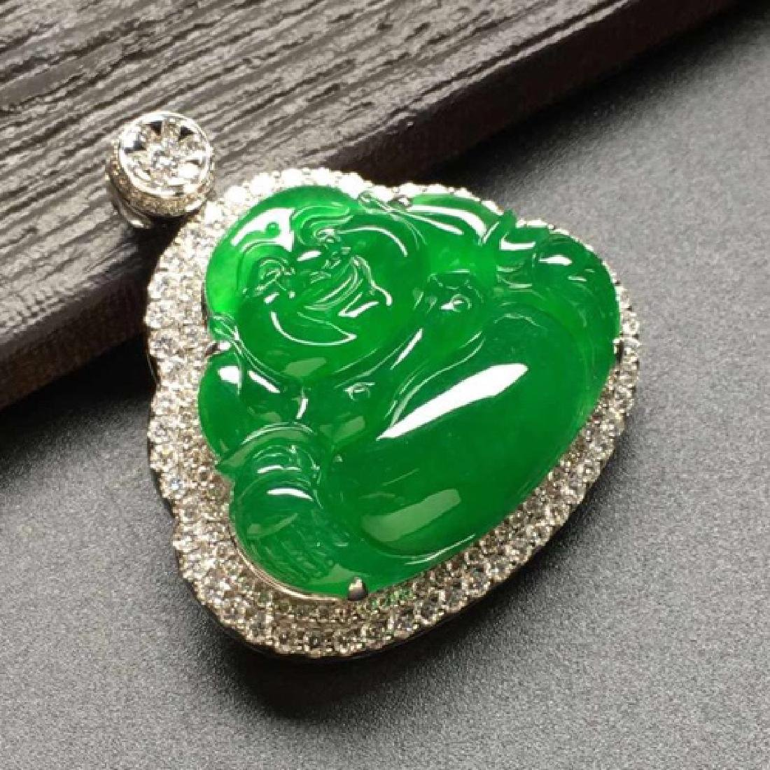 LAUGHING BUDDHA DESIGN NATURAL ICY JADEITE PENDANT With