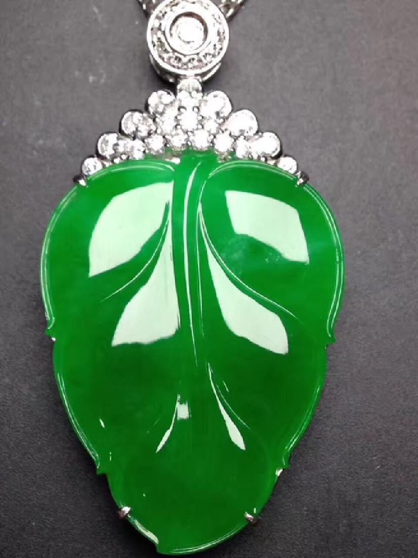 18K DIAMOND A LEAF-SHAPED DESIGN NATURAL ICY JADEITE