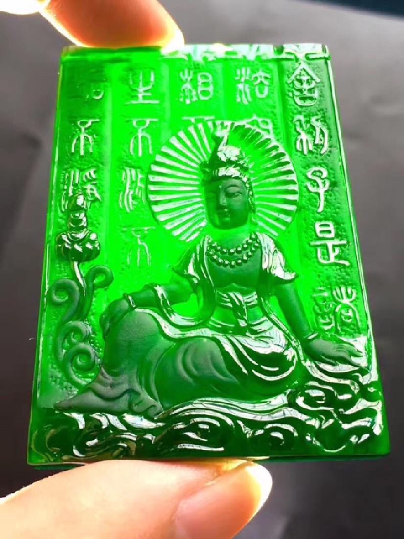 A NATURAL BUDDHA DESIGN BINGZHONG BLACK JADEITE PENDANT