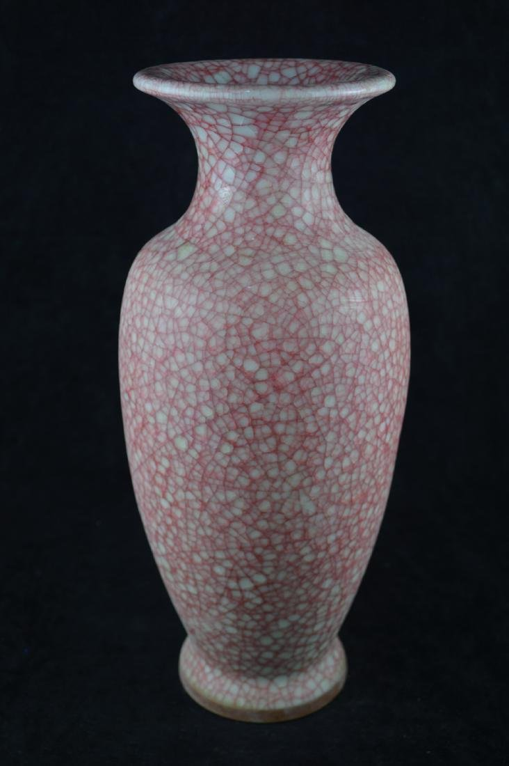 A GE-GLAZED BOTTLE VASE WITH MARK - 3