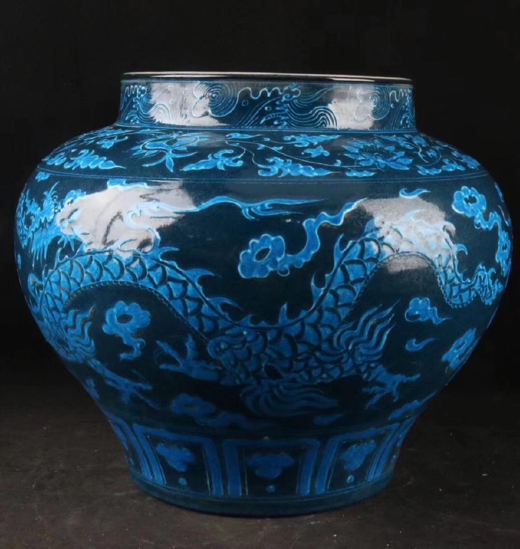 A DRAGON PATTERN BLUE GLAZED POT - 4