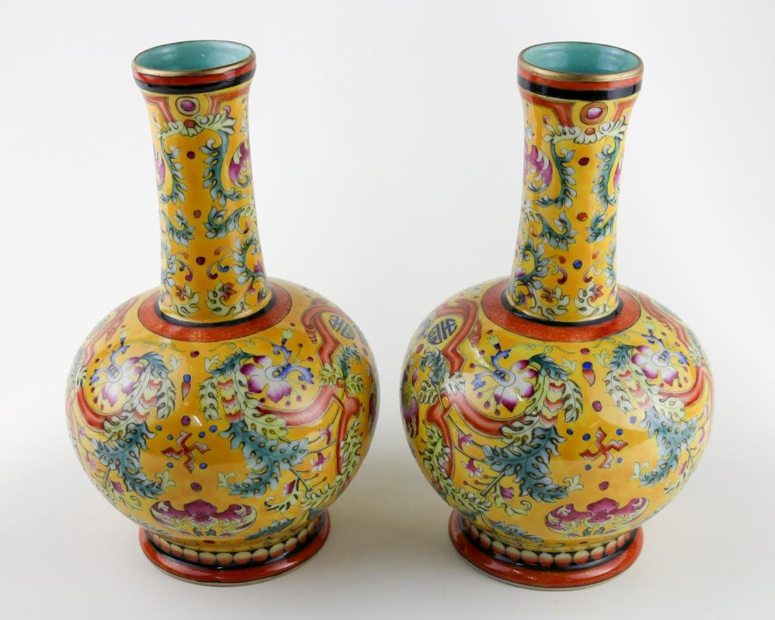 PAIR OF YELLOW GLAZE VASES WITH QIANLONG MARK - 3