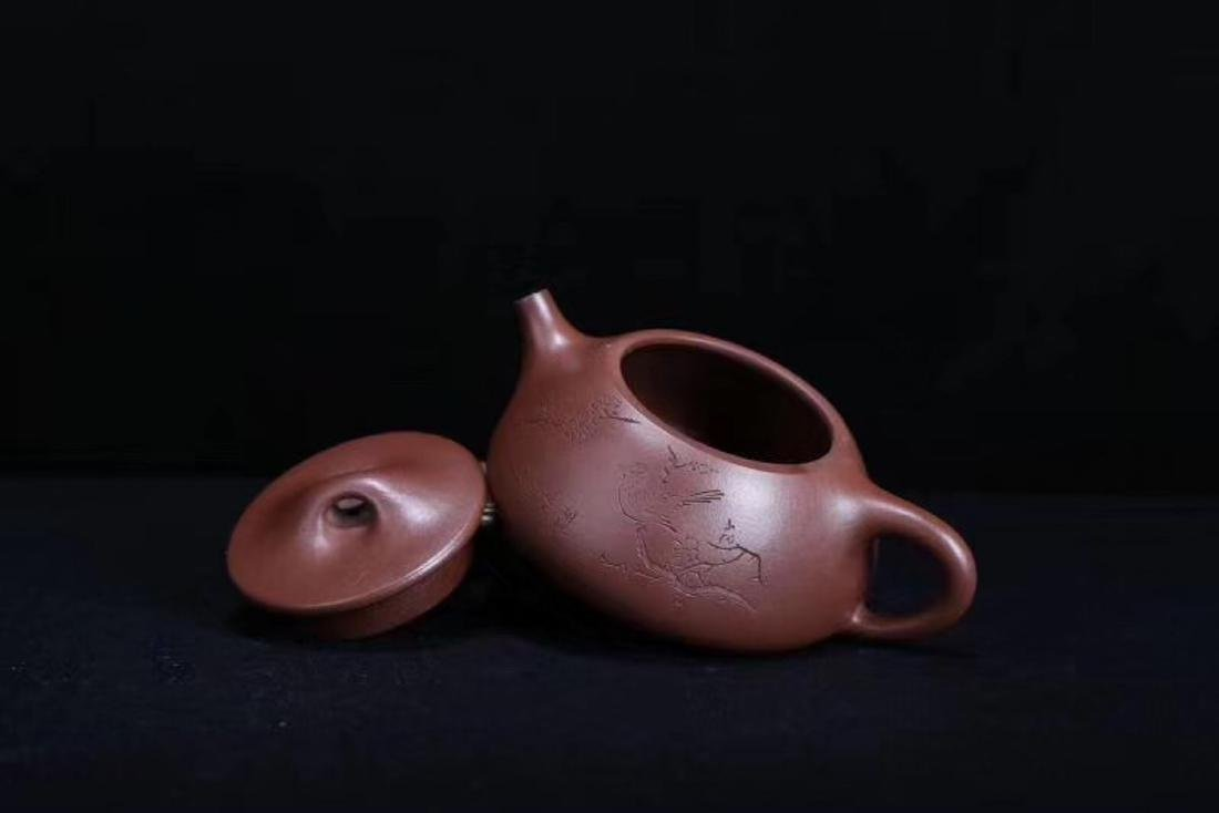 A JINGZHOU PURPLE CLAY TEAPOT - 7