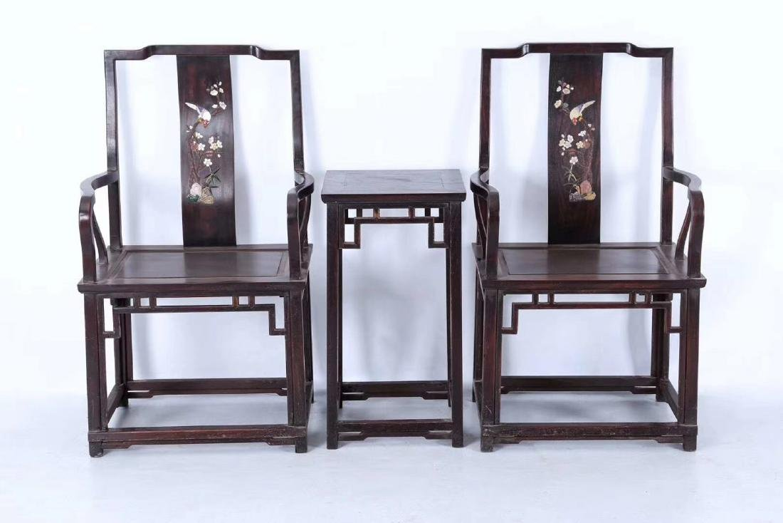 SET OF ZITAN WOOD CHAIRS AND TABLE