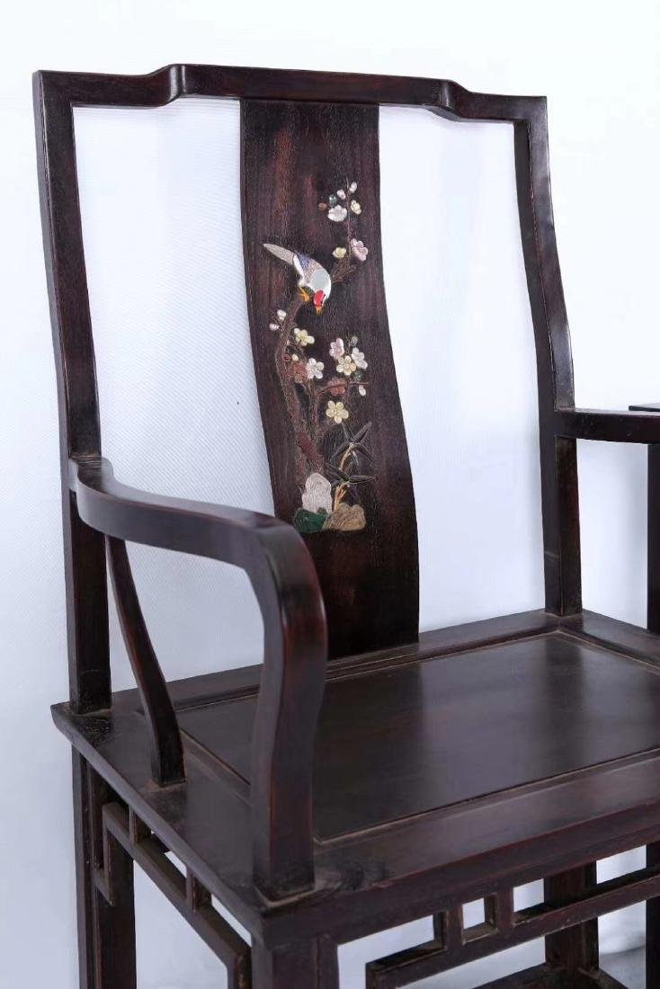 SET OF ZITAN WOOD CHAIRS AND TABLE - 2