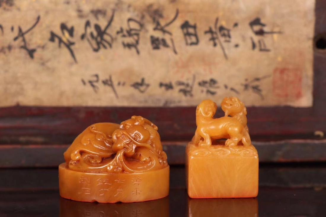 TWO TIANHUANG STONE CARVED SEALS