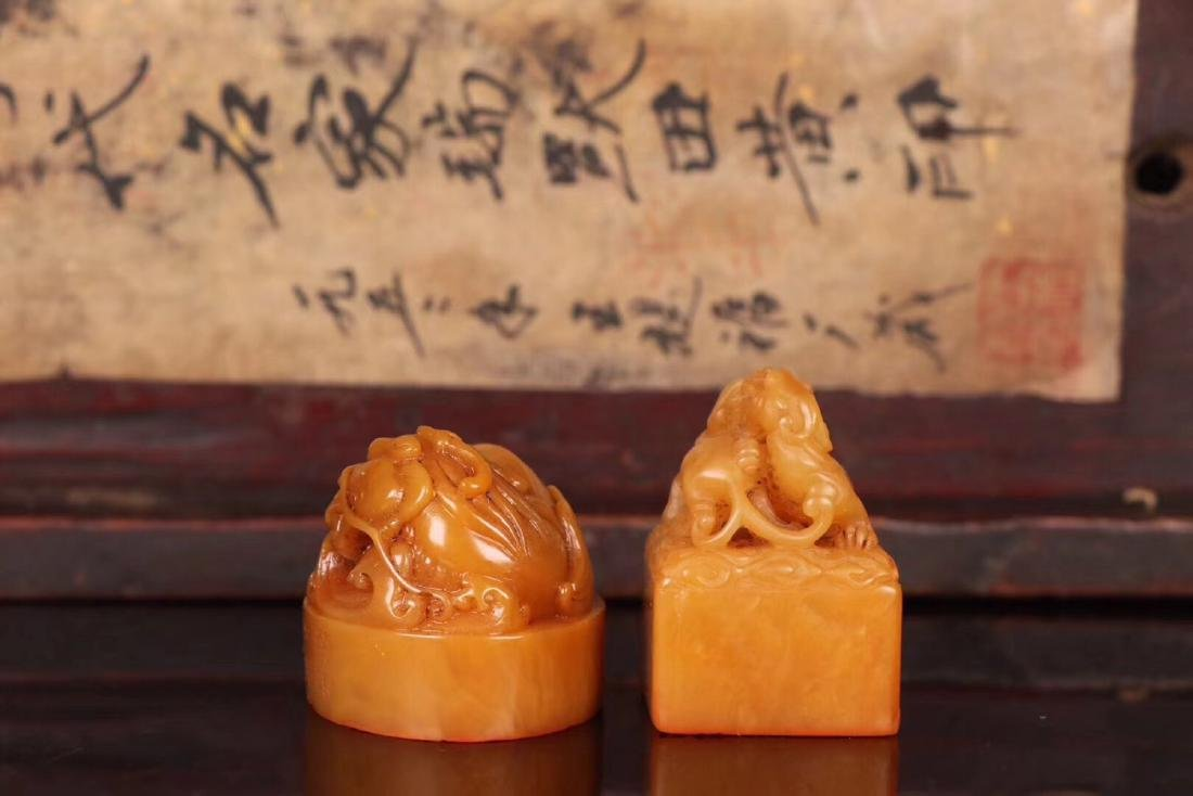 TWO TIANHUANG STONE CARVED SEALS - 2