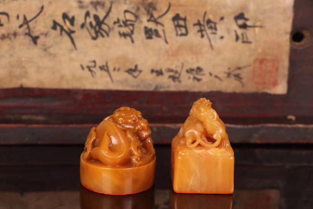 TWO TIANHUANG STONE CARVED SEALS - 4