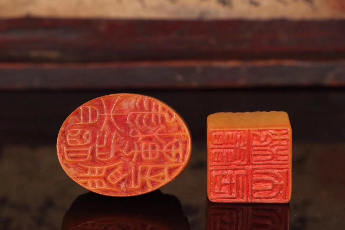 TWO TIANHUANG STONE CARVED SEALS - 7