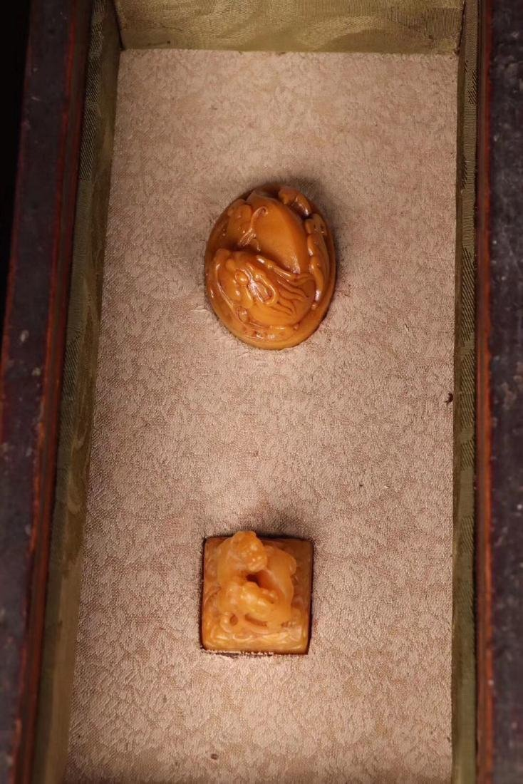 TWO TIANHUANG STONE CARVED SEALS - 9