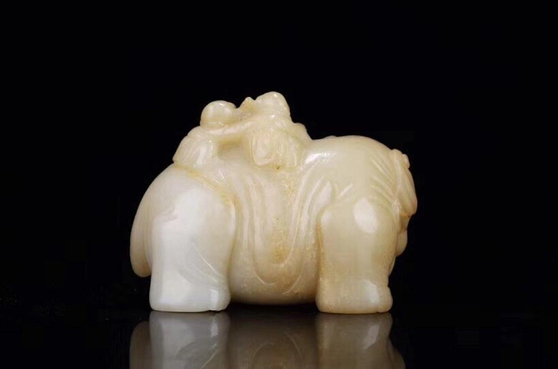1949-1966, AN ELEPHANT DESIGN SUGAR-COLOR HETIAN JADE - 5