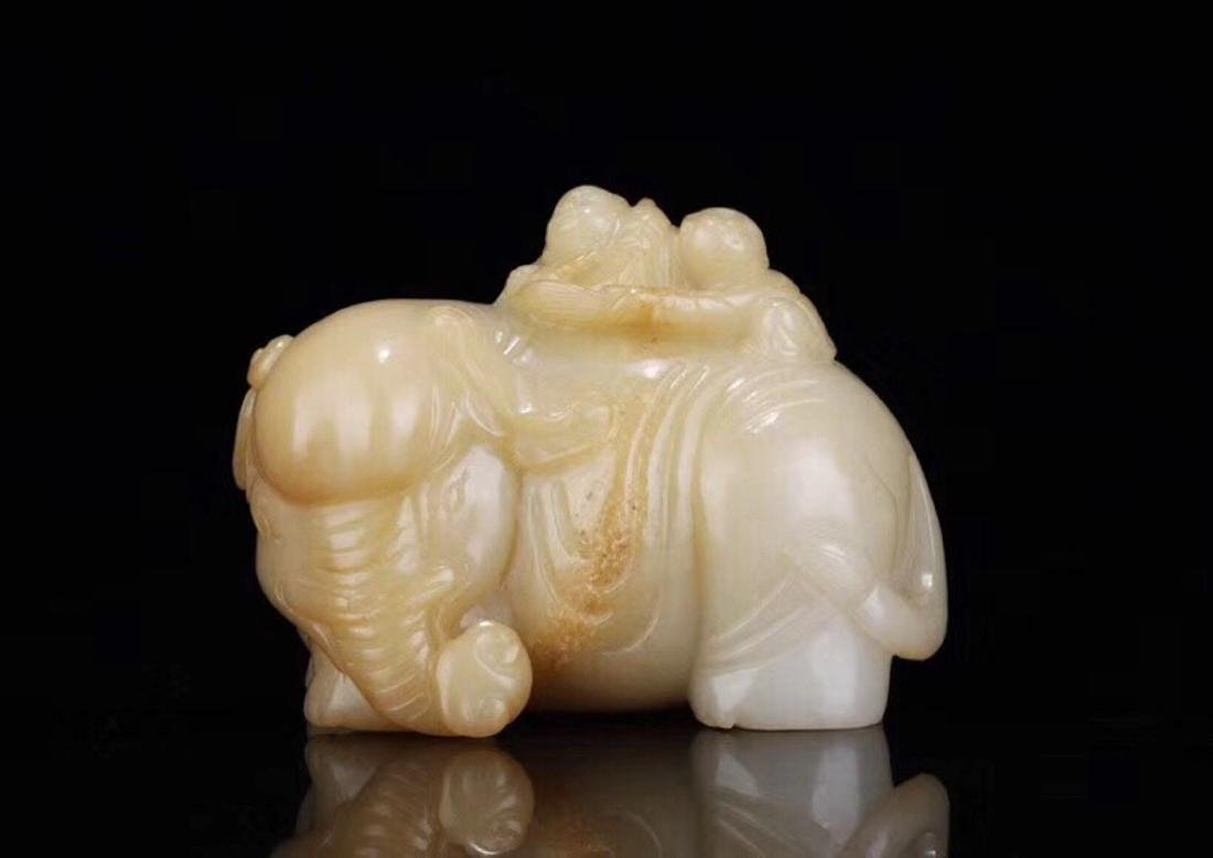 1949-1966, AN ELEPHANT DESIGN SUGAR-COLOR HETIAN JADE - 8