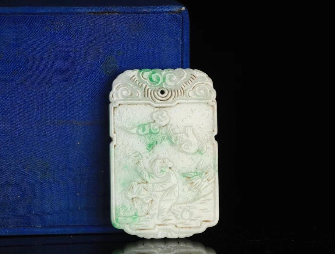 A JADEITE CARVED CHARACTER STORY PATTERN PENDANT