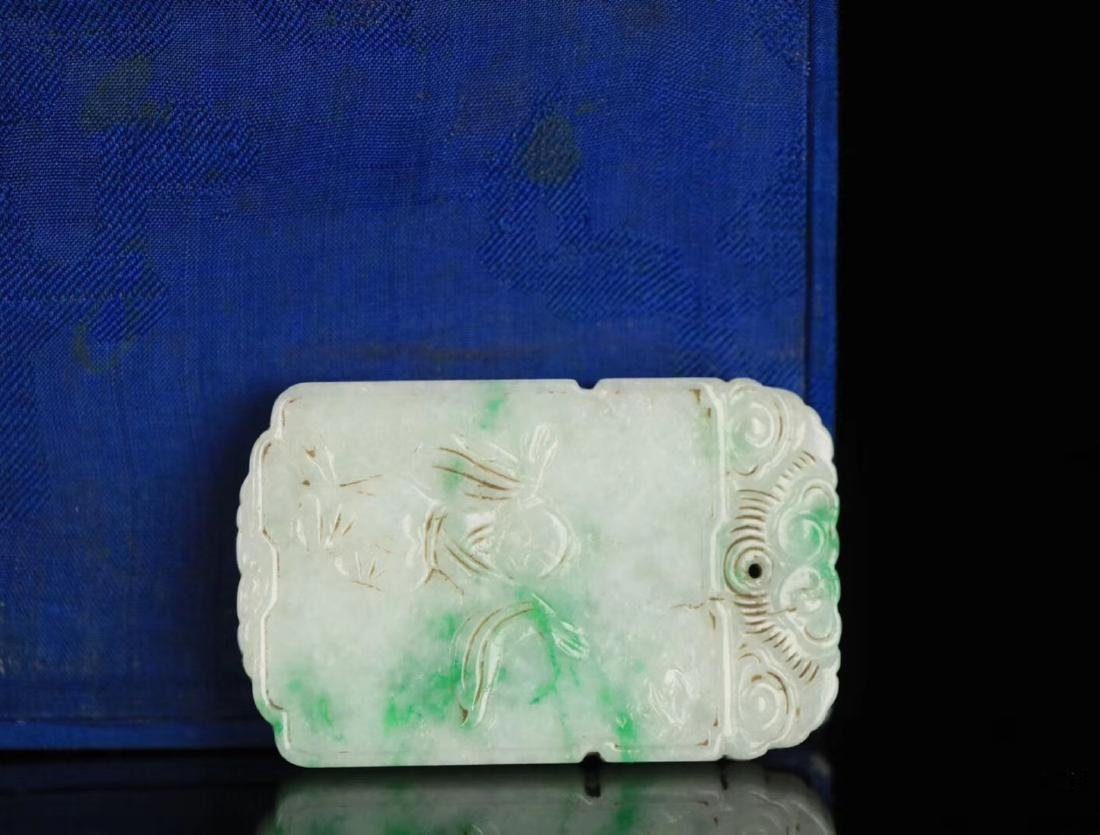 A JADEITE CARVED CHARACTER STORY PATTERN PENDANT - 4